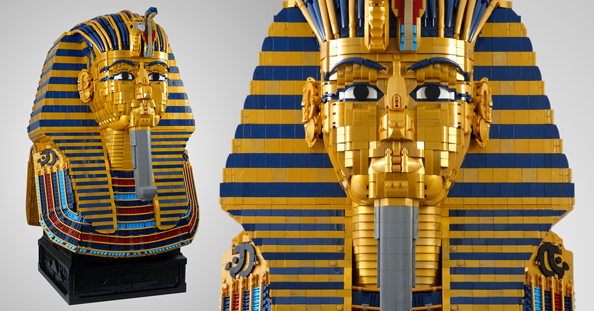 LEGO mask of Tutankhamun is a life-size wonder built from 16,000 bricks | The Brothers Brick