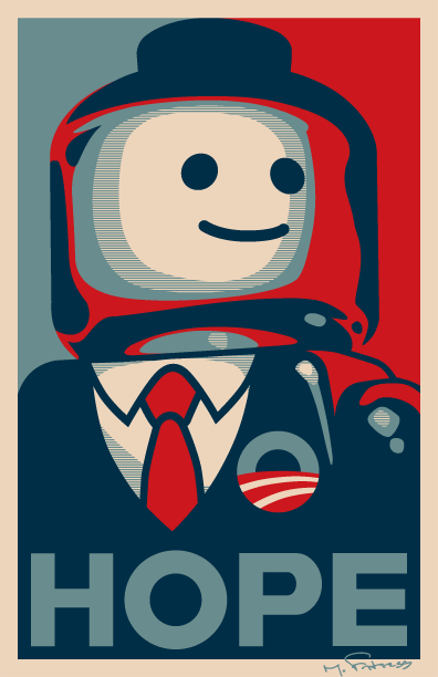 "Brick Obama ""Hope\"" poster by Michael Fortress"