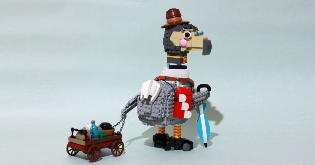 """The whimsical @r194.lego is back with a LEGO build titled """"DDD (DODO Delivery)"""" that belongs in the world of Mary Poppins."""