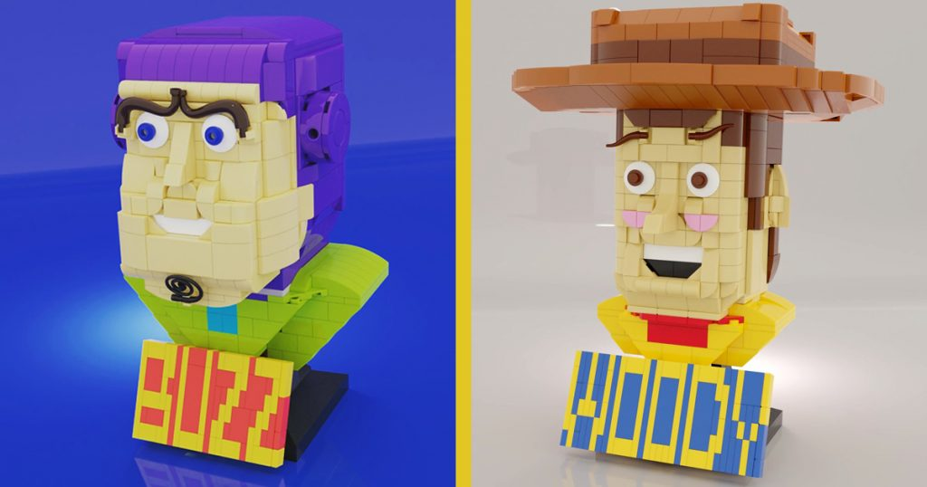 """""""Reach for the sky"""", Star Wars helmets; Woody and Buzz can take it from here in this LEGO build from @sutomu_clk."""