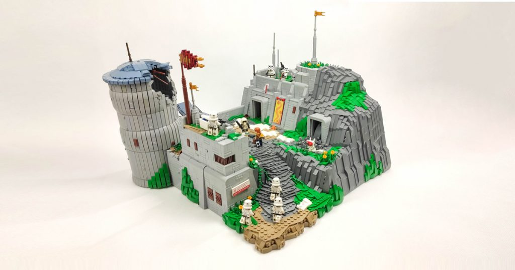 This LEGO Star Wars creation from @cube.brick features a frantic action scene in the middle of an abandoned village built into the rocks.
