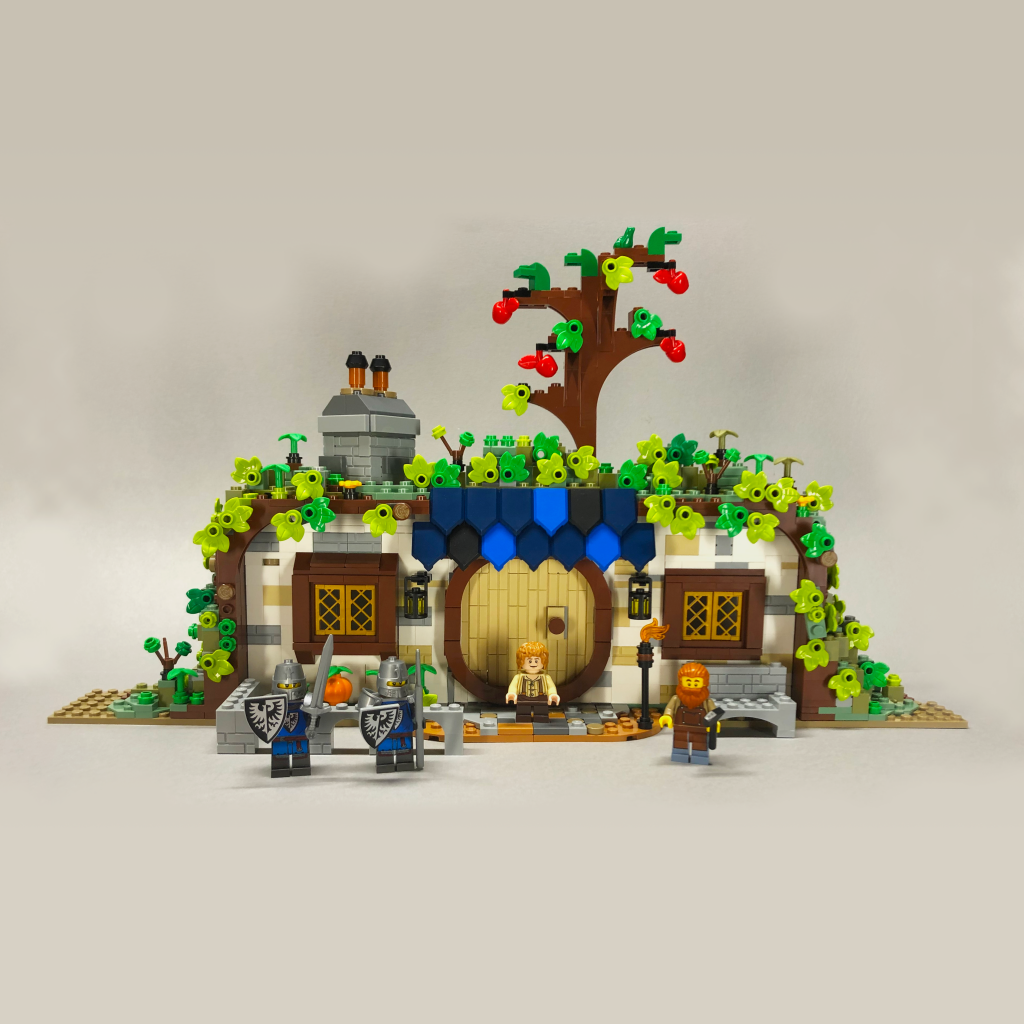 Three versions of Bag End made from three different LEGO sets.