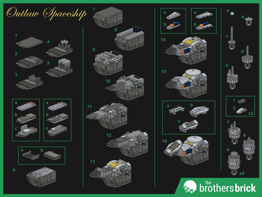 Custom LEGO Outlaw Spaceship instructions (1)