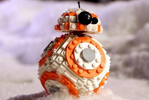 LEGO mini BB-8 in the snow