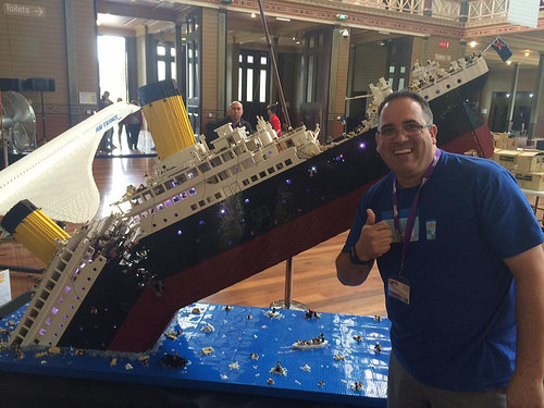 Lego sinking Titanic (with me in it for scale!)