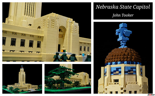 Collage  of the Nebraska State Capitol built out of LEGO
