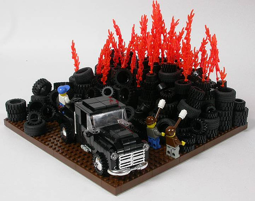 LEGO Springfield tire fire by Adrian Drake on Flickr
