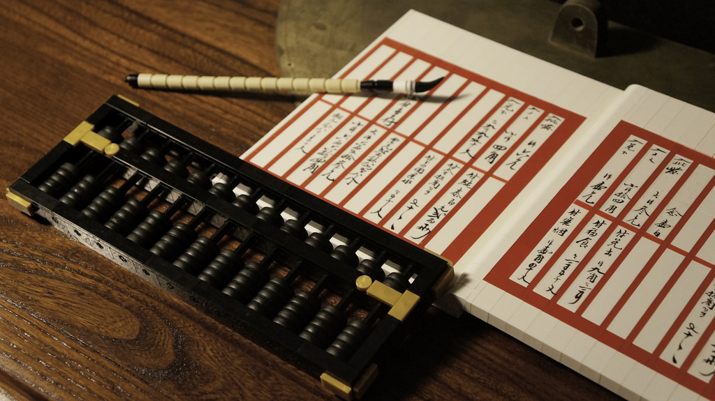 Traditional Chinese Ledger and abacus