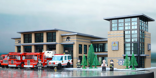 Lego fire station by Asbury
