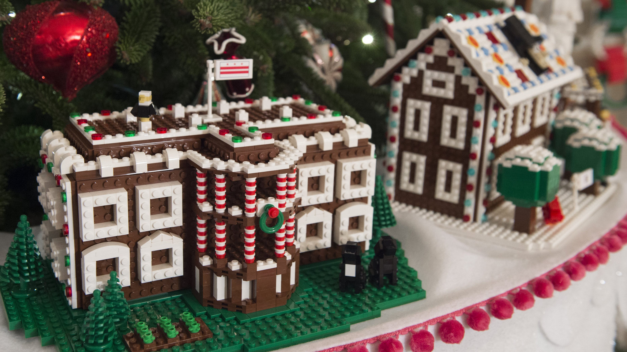 Exclusive Lego Made Gingerbread Houses Decorate The White