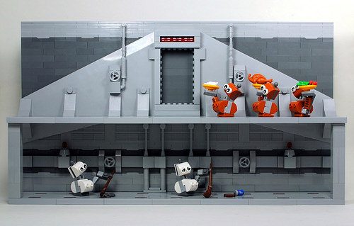 Starship droids hard at work