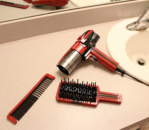 Hair Dryer, Brush, and Comb