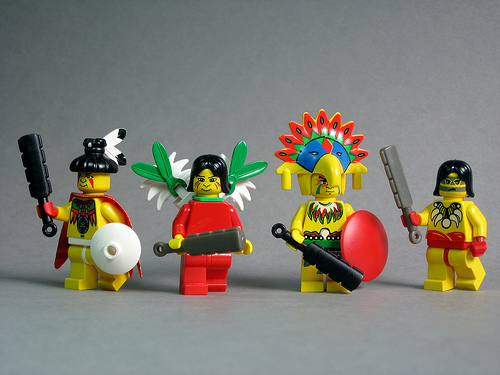 LEGO Aztec warriors with BrickForge macahuitl