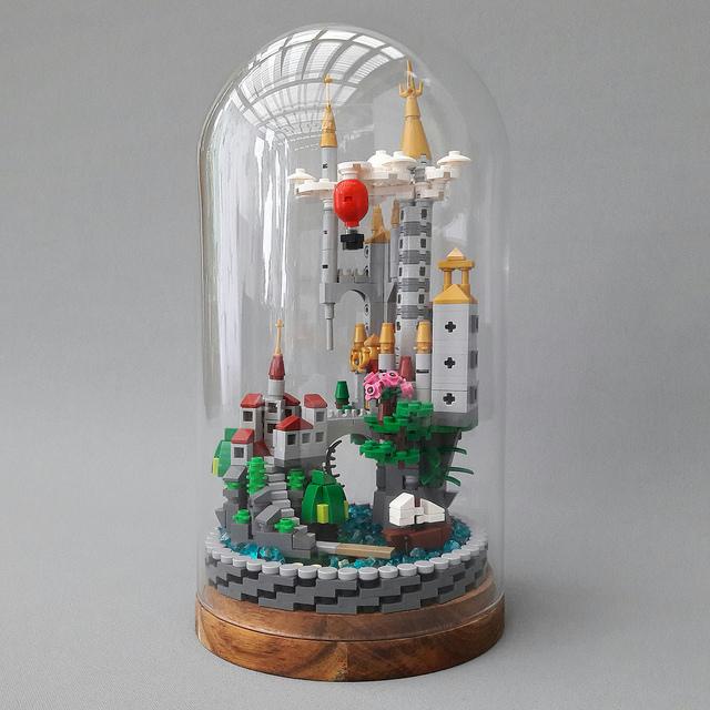 Micro Scale Castle in Glass Dome 1