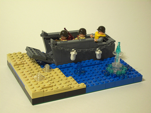 LEGO Landing Craft on Normandy Beach