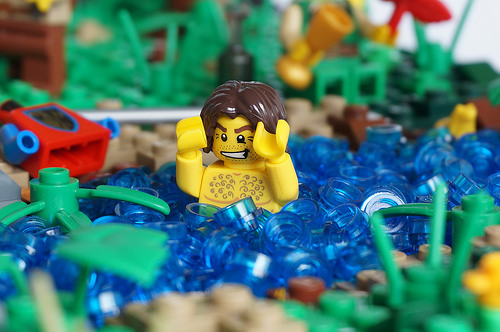 Topless LEGO bather