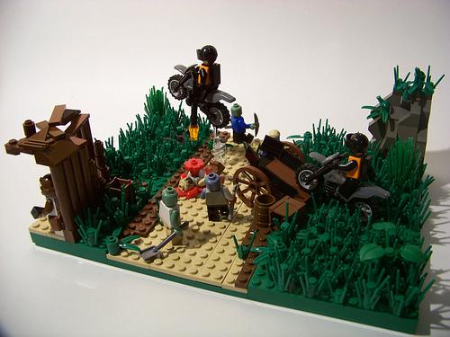 LEGO zombie apocalypse diorama