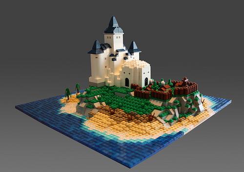 LEGO microscale island castle