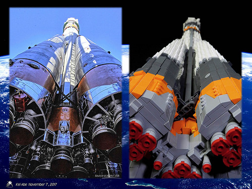 Minifig-scale LEGO Soyuz-1-27 Soyuz-FG