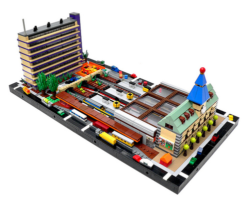LEGO microscale train station and apartment building