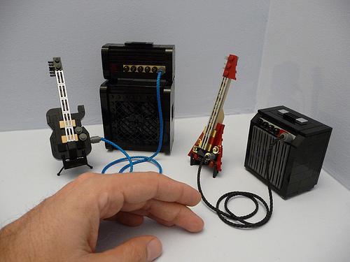 LEGO mini Telecaster and Flying V guitars