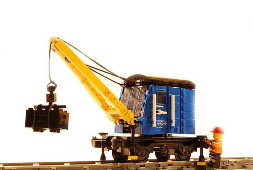 Blue LEGO crane wagon