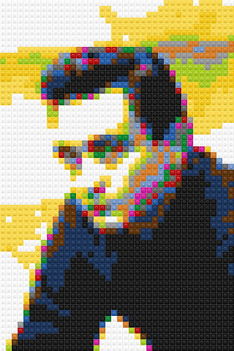 LEGO Johnny Cash mosaic