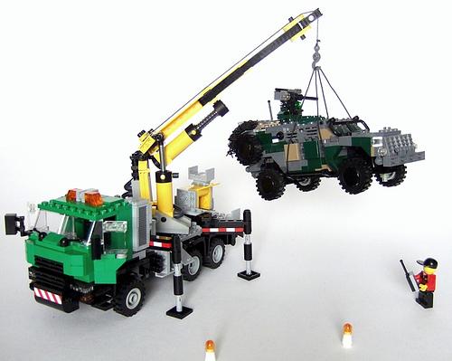 LEGO crane truck lifting military vehicle