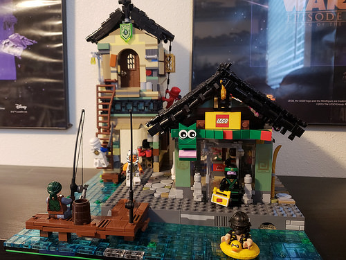 Ninjago City Block, with 2 story condo and LEGO Store All populated by incognito Star Wars characters.