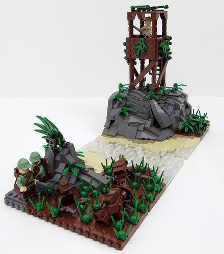 LEGO sentry tower diorama