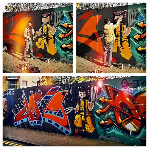 Lego Wolverine Graffiti in Brighton