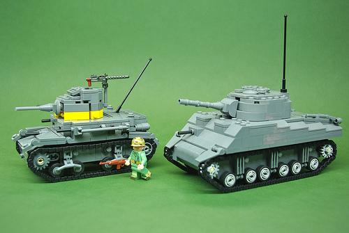 Brickmania M2A4 & M4 Sherman tanks