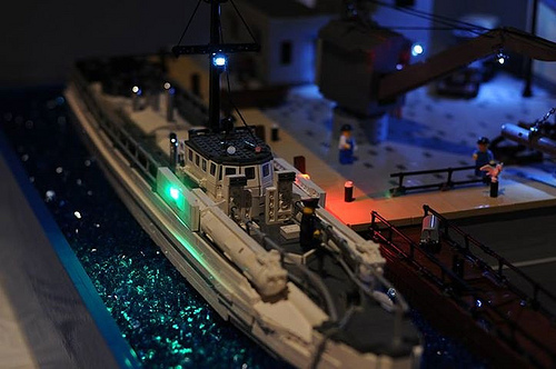 Lego Schnellboot docked at night. Photo courtesy of Jim Liermann