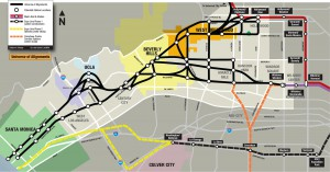 Un mapa a principios de 2008 mostraba diferentes rutas en estudio. Las rutas desde entonces ha sido redefinidas. Clic par ver una imagen mas grande.