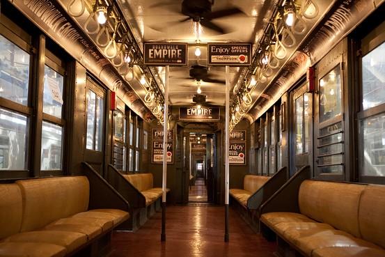 Una vista del vagón del Metro de Nueva York que se utilizará en el programa Boardwalk Empire de HBO.