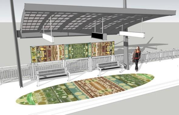 Representación digital de la estación Nordhoff, que tendrá un mosaico de 27 pies de largo incrustado en las plataformas de concreto, y un panel artísticos de porcelana esmaltada de 20 pies.