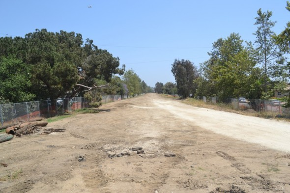El derecho de vía de la Línea Expo -mirando hacía al este entre Military Ave. y Westwood Blvd., ha sido limpiado de las vías viejas y la maleza que cubría el área. Foto Carter Rubin/Metro.