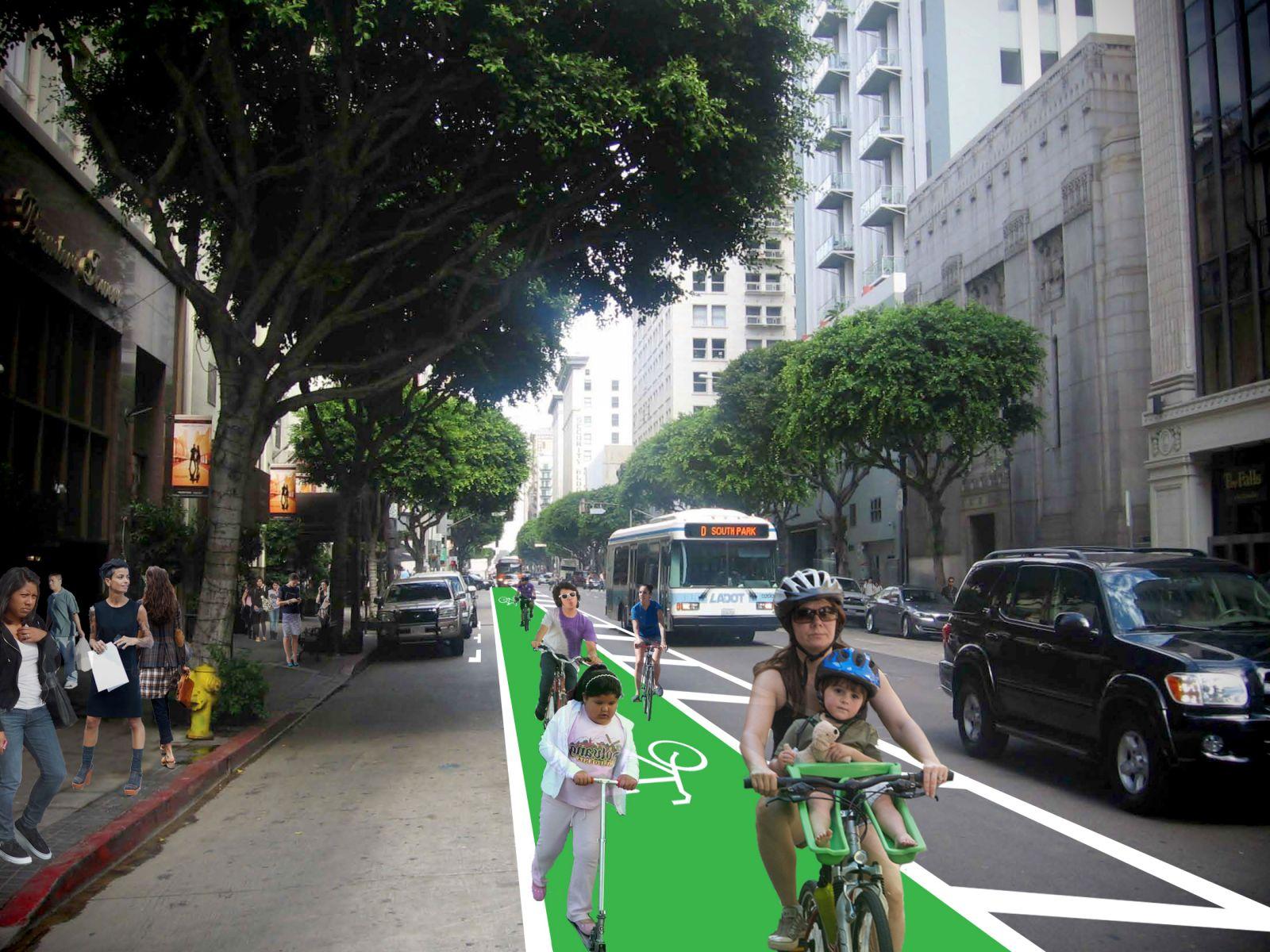 Carril para bicicletas en la calle Spring del centro de Los Angeles. (Foto cortesía de LACBC).