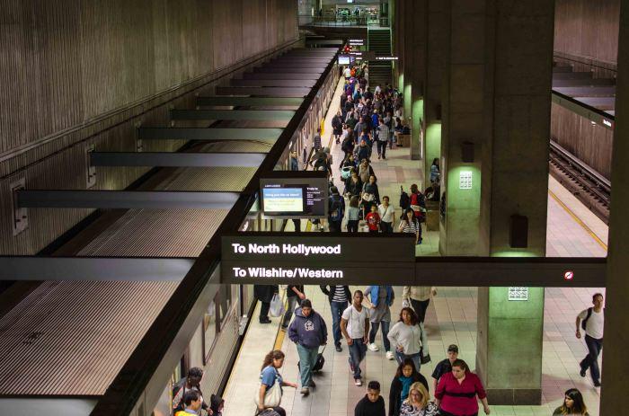 The Red/Purple Line subway platform under Union Station.