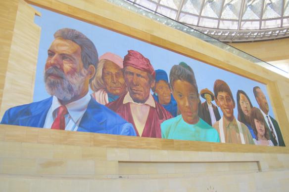 Vista del mural, después del trabajo de mantenimiento.