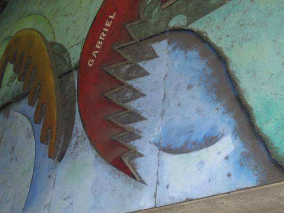 Detalle del mural antes de la limpieza.