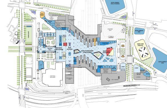 Ilustración del nuevo vestíbulo y la plaza de autobuses.