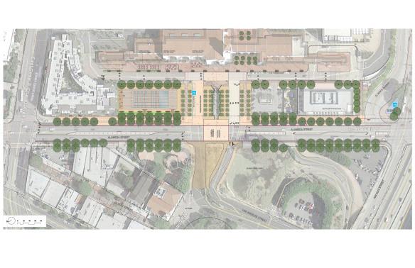 El proyecto contempla desplazar el estacionamiento del frente para construir una plaza cívica.