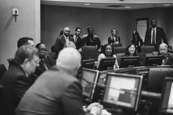 La Junta de Metro al momento de anunciar a Phillip Washington como nuevo director general ejecutivo de la agencia. (Foto: Steve Hymon/Metro).