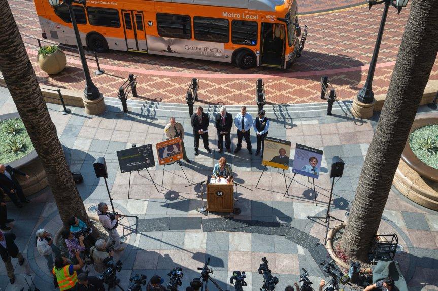 Aspecto de la conferencia de prensa del evento sobre seguridad de esta mañana. Fotos: Steve Hymon/Metro.