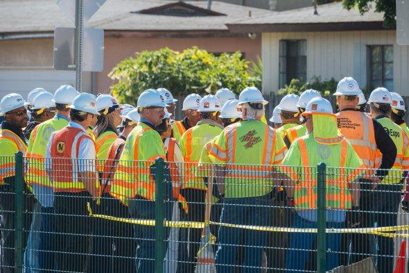 Trabajadores que participaron en las pruebas.