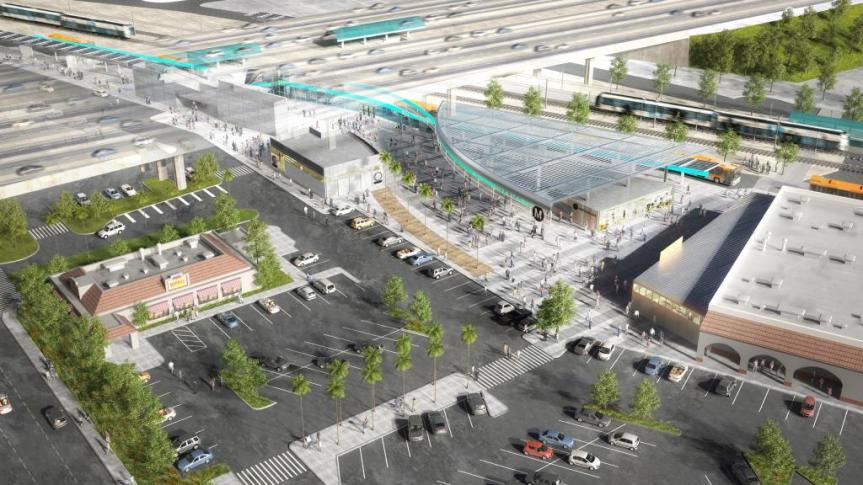 Ilustración de cómo lucirá la estación Willowbrook/Rosa Parks cuando se completen las mejoras.