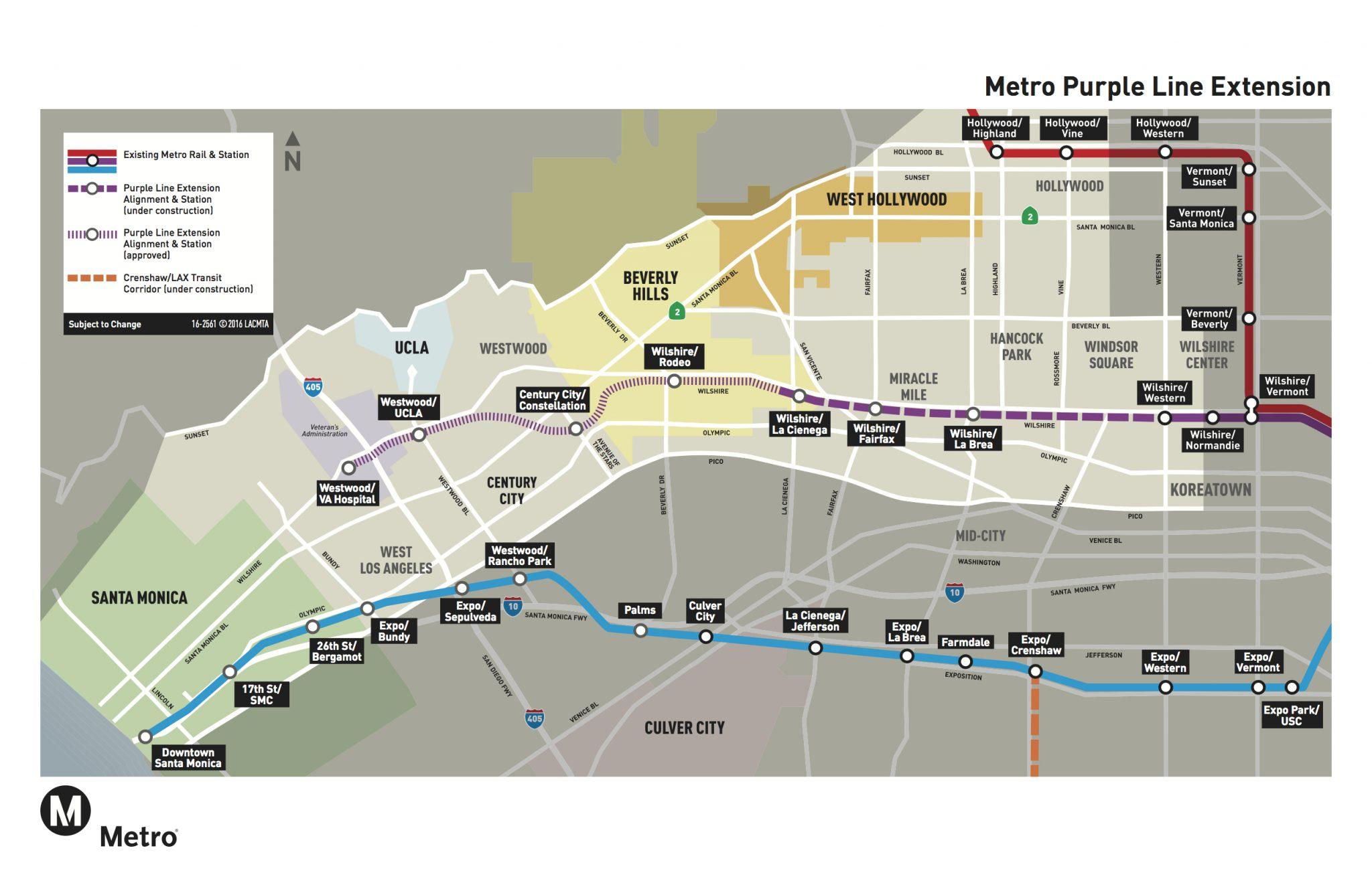 Mapa de la Extensión de la Línea Púrpura.