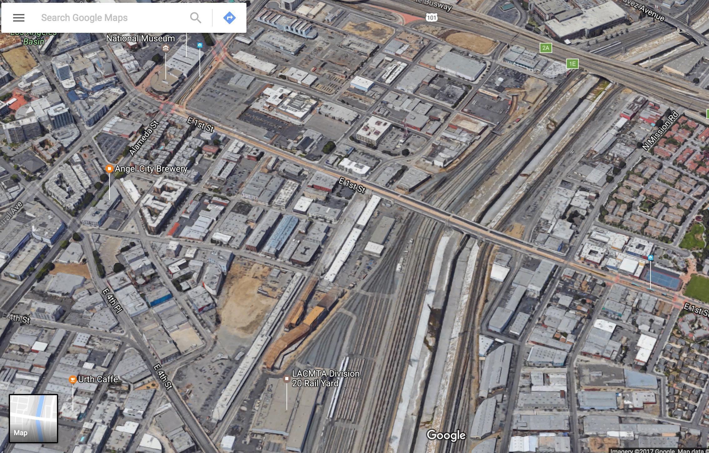 Arriba y abajo, vista aérea de la División 20. Foto: Google maps.