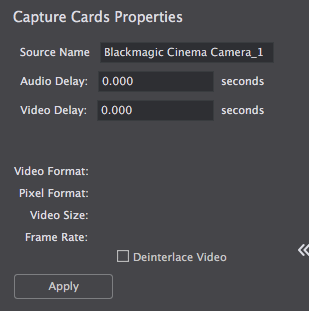 Using BlackMagic Cinema Camera - Wirecast Capture Devices and